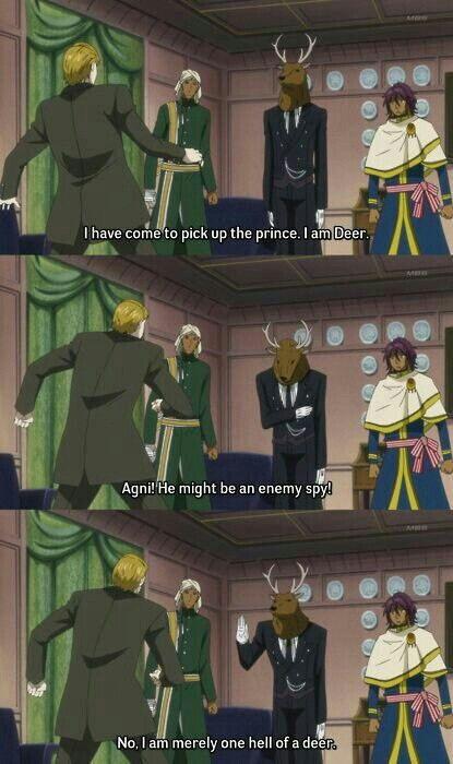 Agni, Sebastian, Prince Soma, deer, funny, quote, text, comic; Black Butler