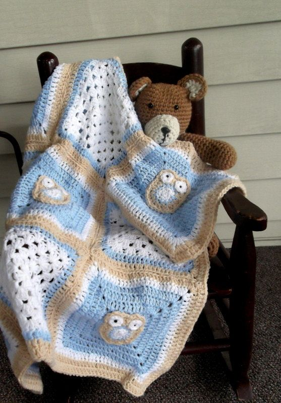 owls on blue baby blanket