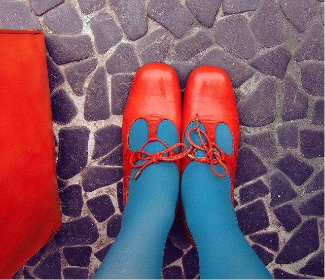 vintage orange shoes blue tights purple stone floor