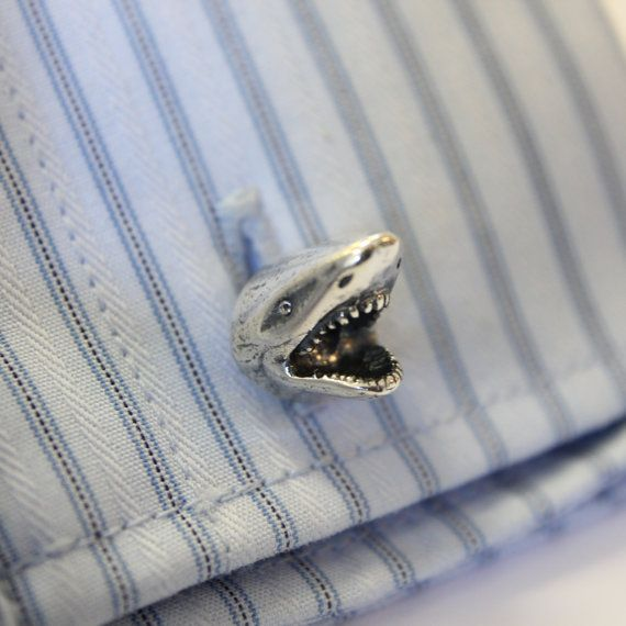 Hey, I found this really awesome Etsy listing at https://www.etsy.com/listing/162420524/silver-shark-cufflinks-great-white-shark