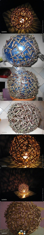 DIY twig chandelier