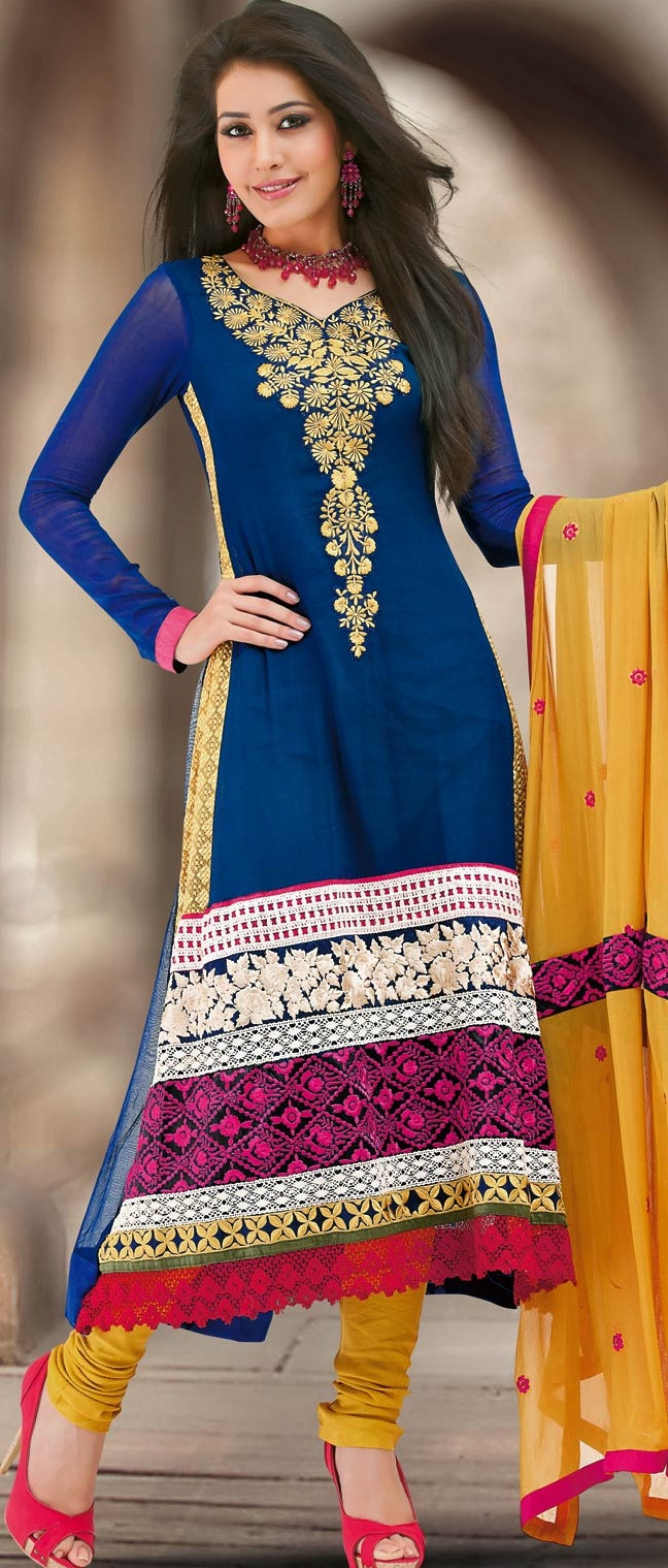 Royal #Blue Faux #Georgette #Churidar #Kameez @ $107.69 | Shop @ http://www.utsavfashion.com/store/sarees-large.aspx?icode=kun36