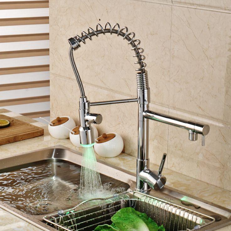 Polished Chrome LED Color Changing Kitchen Mixer Taps Deck Mount Hands Free Kitchen Faucet Dual Spout