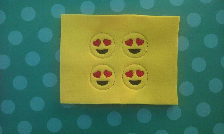 Emoji ,Emoji With Heart Eyes ,Felties -Embroidered Felt Appliques ,Hair Bow Centers,Hair Bow Felties ,Hair Bow Supplies by greenowlgiftshop on Etsy