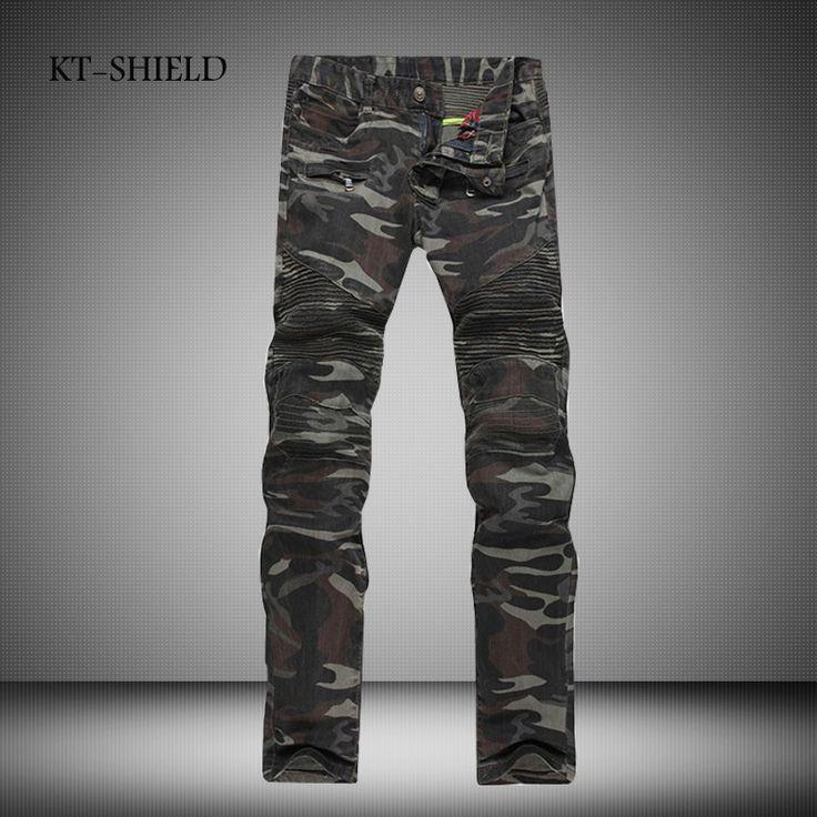 Camouflage Jeans Men Famous Designer Slim Biker Washed Jean Homme Mens elastic military multi-pocket overalls trousers plus size #Affiliate