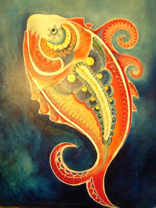 oil paint , fish, art ,