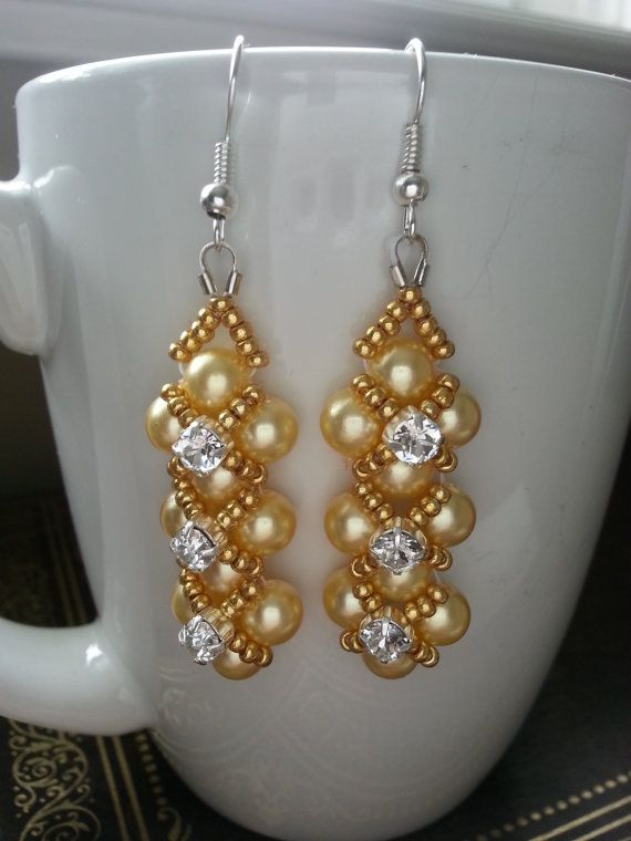 Gold/Yellow Pearl with Gold Metallic detail and Swarovski Crystal Montees Earrings