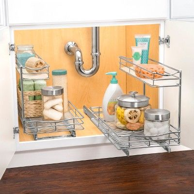 Lynk Professional 11 5 X 21 Slide Out Under Sink Cabinet Organizer Pull Out Two Tier Sliding Shelf Under Kitchen Sinks Under Kitchen Sink Organization Diy Bathroom Storage