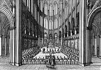 Te Deum service to honor the marriage of King Louis XIV and Maria Theresa of Spain, held at Notre Dame Cathedral, 1660. Engraving by Marot, c1660.