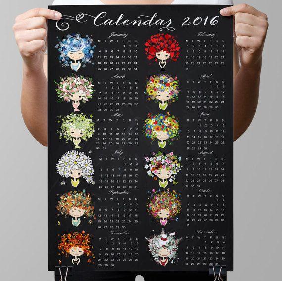 Chalkboard Calendars-2016-All por TimelessMemoryPrints en Etsy