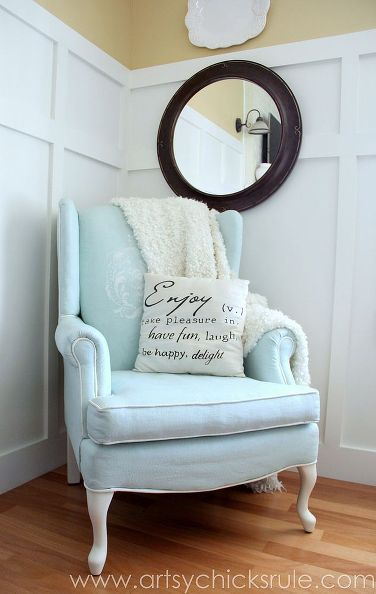 DIY:: Charming Duck Egg Blue Painted Upholstered Chair ! (yes you can paint an upholstered chair) by @Nancy @ Artsy Chicks Rule
