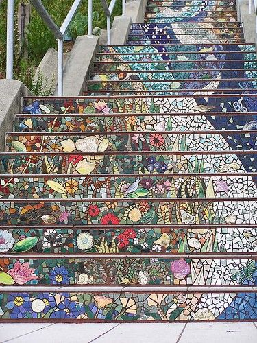 Staircase by Collette Crutcher and Ailene Barr (Golden Gate Heights, San Francisco) -- a 163-step staircase that climbs a steep San Francisco hillside. The 2,000-tile mosaic involved 300 neighbors and took three years to complete.