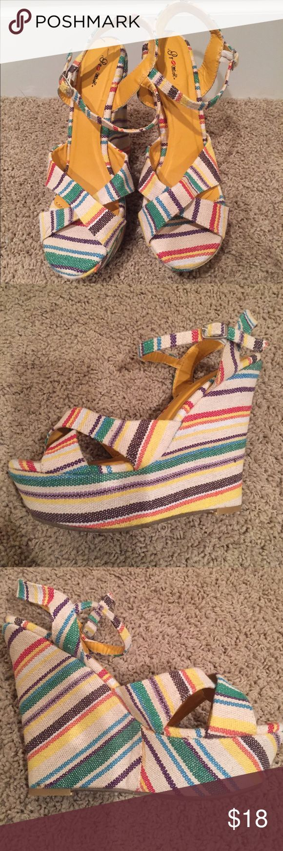 NWOT Striped Wedges Size 8 These are a pair of Promise brand wedge heels in a multi colored stripe pattern. Size 8. Excellent condition never worn! promise Shoes Heels