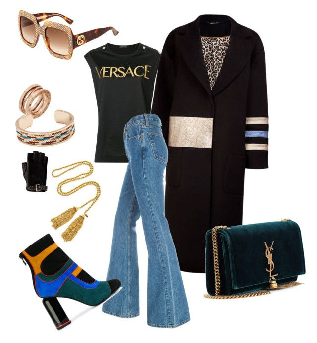 """NY streets"" by nedelamirela on Polyvore featuring Versace, Kenneth Jay Lane, Yves Saint Laurent, Bulgari, Gucci, MICHAEL Michael Kors, Pierre Hardy, contestentry and nyfwstreetstyle"