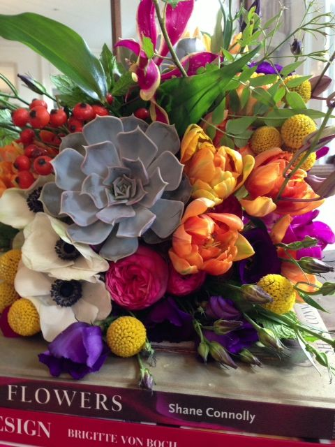 Beautiful Brights from our October Career Course student Mary in the school room today - we LOVE this bridal bouquet
