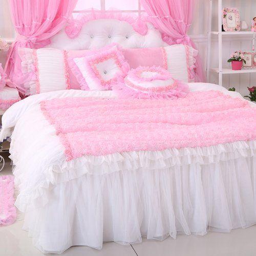 FADFAY Home Textil, Romantic Rose Pink, Bettwäsche Und Spitze, Luxuriös, Elegant,, Rose Garden Princess Bettwäsche Bettbezug, weiß, Queen