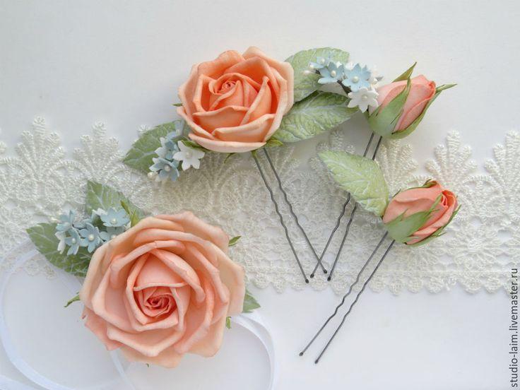 Купить Комплект на выпускной браслет и шпильки с цветами из фоамирана - украшения для волос, украшения для выпускного