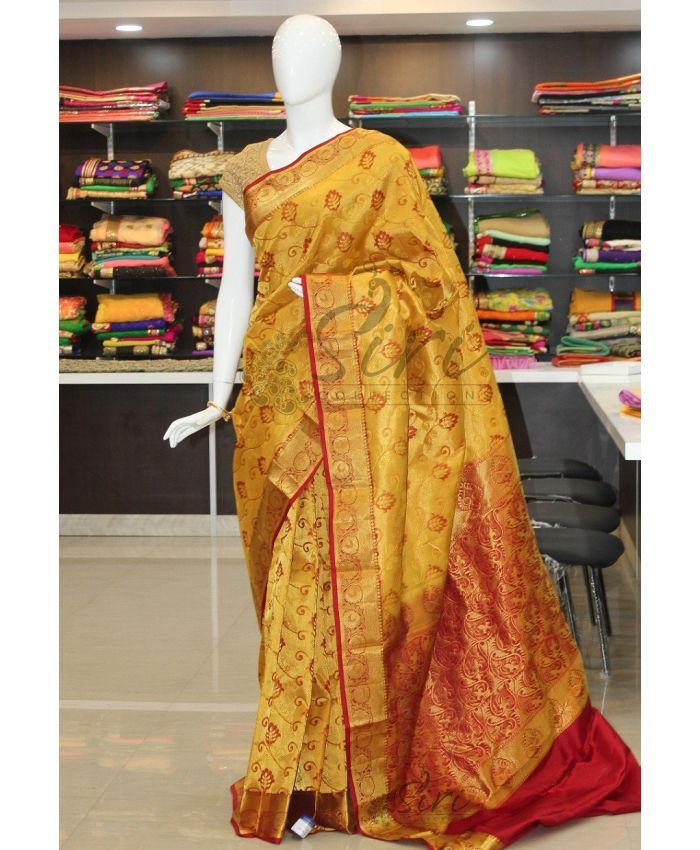 Cute Yellow Kanchipuram Pure Silk Saree with Rich Maroon Pallu & Border