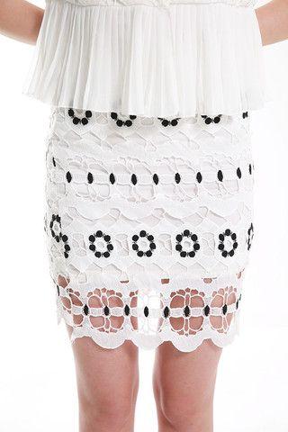 FYVFYV Eyelet Lace Blouse & Skirt Set