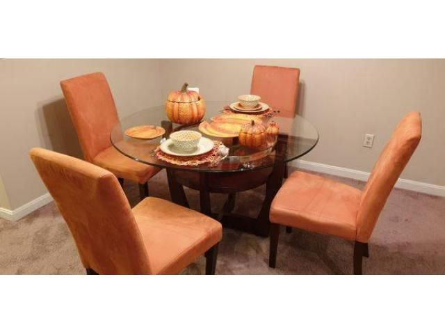 Beautiful Alcove Dining Table With 4 Orange Side Chairs Wood Dining Room Set Dining Table Wood Dining Room