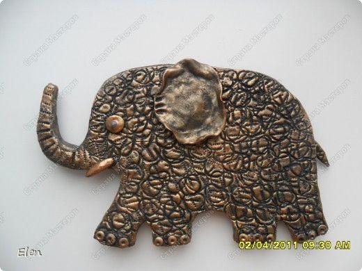 Картина панно рисунок Лепка Роспись 9 слонов соленое тесто Гипс Тесто соленое фото 2