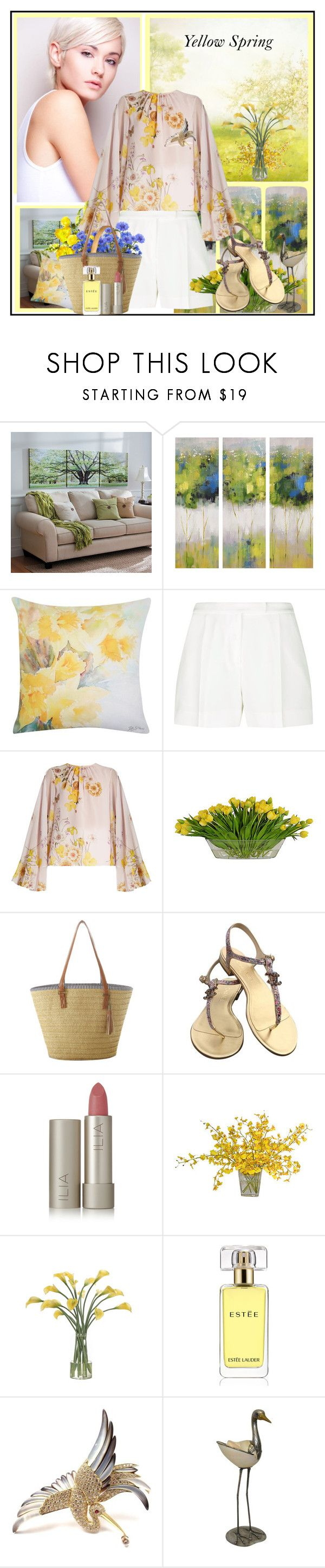 """Yellow Spring !"" by fantasy-rose ❤ liked on Polyvore featuring Improvements, M&Co, Elie Saab, Giambattista Valli, The French Bee, Chanel, Ilia, NDI, Estée Lauder and floralprint"