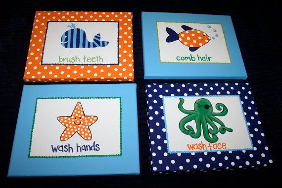 Custom Paintings SET OF 4 Sea Life Bathroom Set by paintmama-- totally could do this