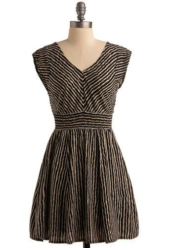 Perfect dress for the hourglass figure - diagonal stripes on top will make bust look smaller, A-line skirt hides the tummy and creates an hourglass silhouette. Horizontal stripes on the skirt are slimming.