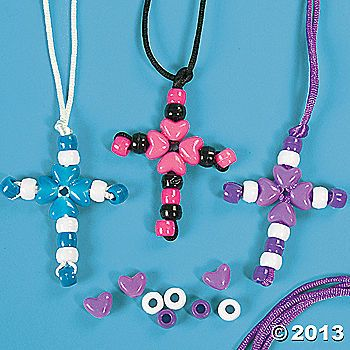 Bead cross necklace using pony beads. make into key chains---older elementary class