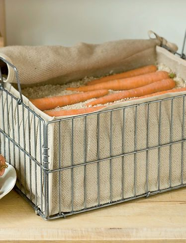 Root Crop Storage Bin- root veggies like carrots and beets will stay fresh all winter and even grow sweeter in this storage bin. Just fill with layers of damp sand or sawdust, alternating with layers of carrots or beets, and put in a cool, dark place. Potatoes, turnips and squash can go right in the bin without sand.