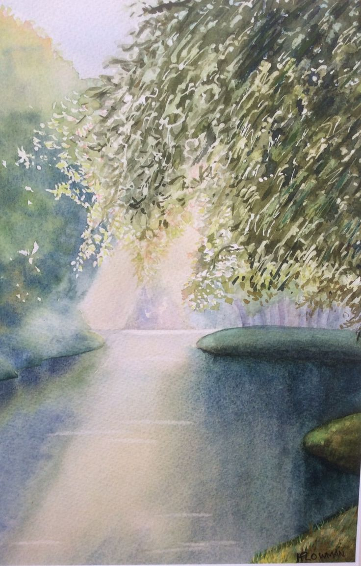 Light on the canal Watercolour by Heather Plowman