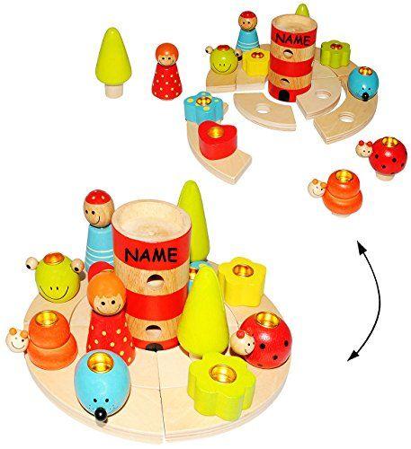 Günstig online entdecken: 21 tlg. Set: Geburtstagsring - incl. Name - mit einzelnen Deko Elementen / Tier Figuren zum Stecken - aus Holz - für Kerzen - Kinder bunt - Geburtstagskranz Kindergeburtstag Kerze / Geburtstagszug - Mädchen Jungen Geburtstagskerzen - Leuchtturm - Geburtstagsringe von alles-meine.de GmbH bei Spielzeug.World!