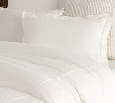 PB Essential Duvet Cover & Sham - White #potterybarn - all white bedding to contrast with dark blue walls