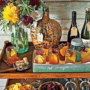 Handsome Bar Cart Ideas | Warm and Rustic Bar Cart | SouthernLiving.com