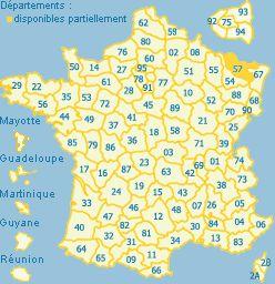 Carte de la France (avec DOM) avec zones cliquables selon les départements