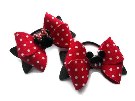 Cow Piggies Set of 2 Bows Cow Hairbows Red Piggies Piggies Cow Print Bows Cow Pig Tails Set of Bows Red and Black Bows, Pig Tails
