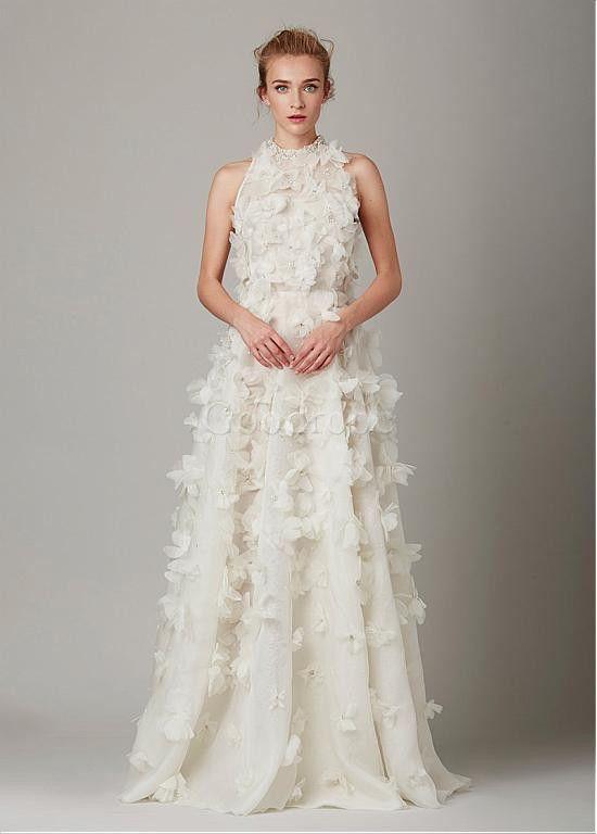 Robe de mariée fleurs col haut naturel de organza avec manches - photo 1