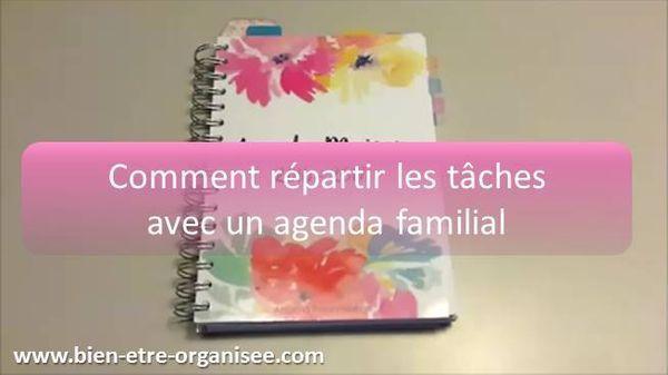 Je vous partage mon agenda familial dans lequel sont réparties les tâches ménagères entre les membres de la famille et sont noté les rendez-vous.