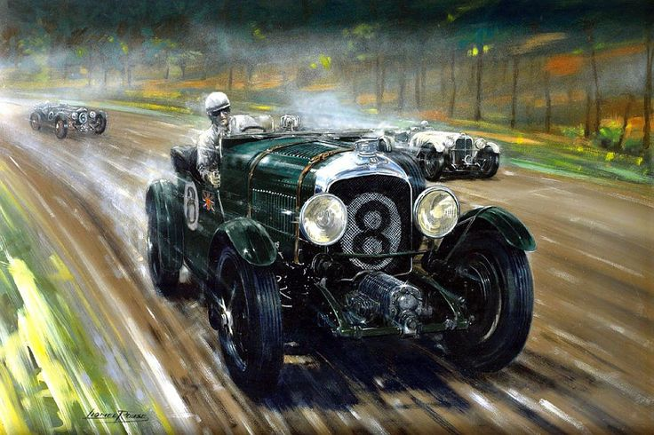 """Blower vs. SSK"" by Lionel Rouse. Le Mans in 1930 - the Blower Bentley of Dr. Dudley Benjafield and Giulio Ramponi, with the Mercedes SSK of Caracciola and Werner."