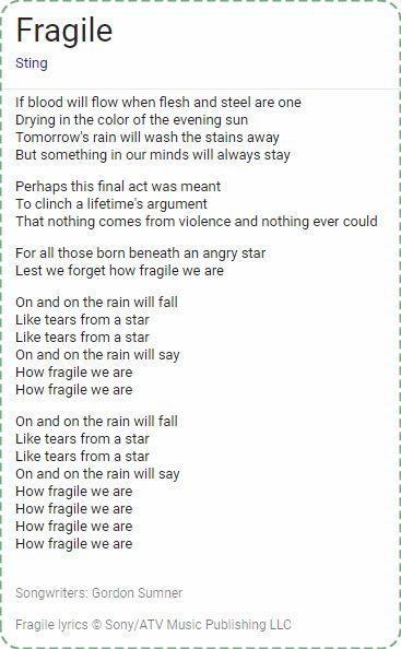 Fragile by Sting; lyrics Gordon Sumner