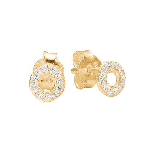 Stud, petit round CZ, gold plated sterling silver