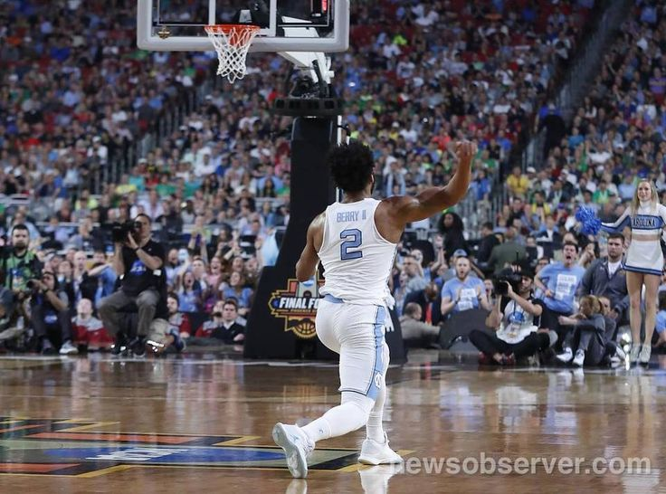 North Carolina's Joel Berry II (2) celebrates during the first half of UNC's game against Oregon in NCAA Division I Men's Basketball Championship national semifinals at the University of Phoenix Stadium in Glendale, AZ, Saturday, April 1, 2017.