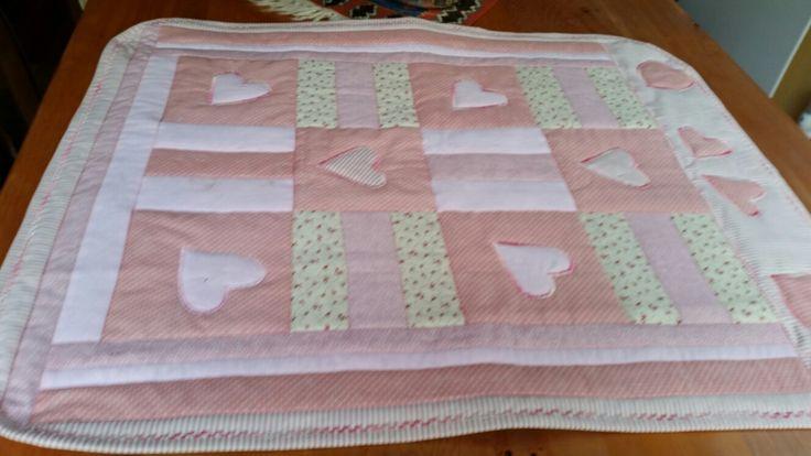 Pink heart cot quilt