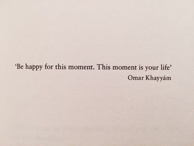 'Be happy for this moment. This moment is your life.' - Omar Khayyam (Iranian Poet)