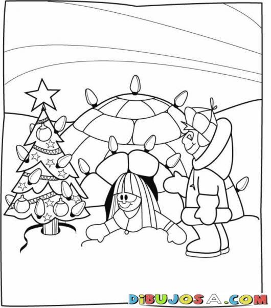 Dibujo De Esquimales En Navidad Para Colorear Y Pintar Online | COLOREAR DIBUJOS DE NAVIDAD | Dibujo De Esquimales En Navidad Para Colorear Y Pintar Online | dibujosa.com