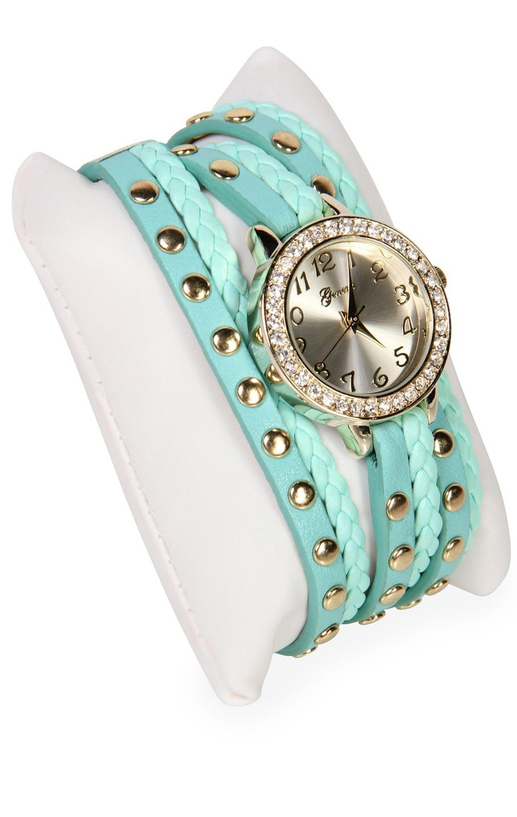 Deb Shops #mint braided wrap #watch with #studs and #stones