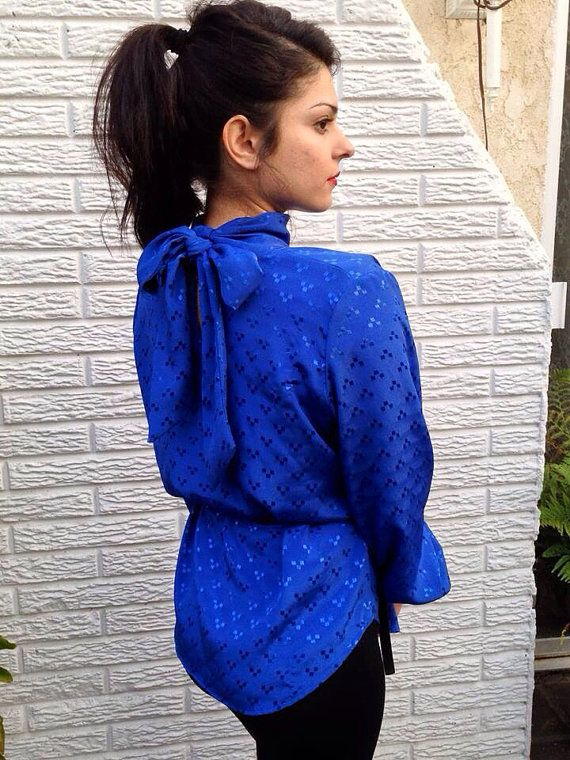Royal Blue Blouse on Etsy, $10.00