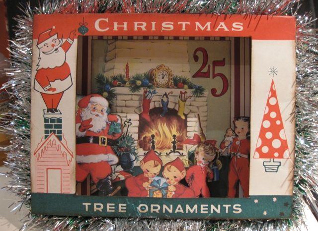 Christmas Shadowbox using an empty vintage ornament box.