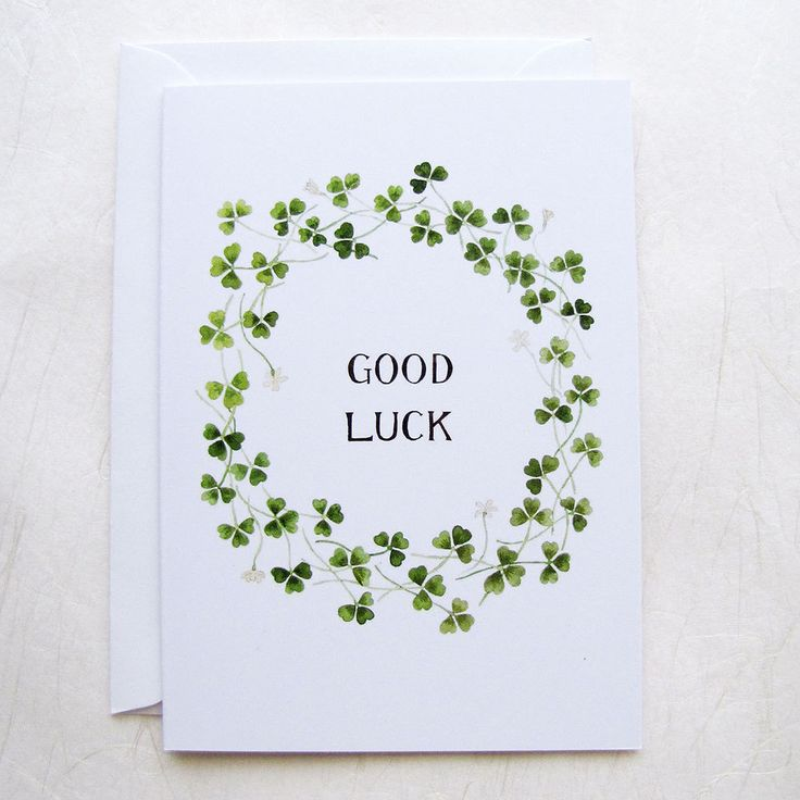 Good Luck Card / Shamrock Card / Four Leaf Clover Card / Lucky Card / Lucky  Clover / Encouragement Card / St Patricks Day Card / Greeting  Good Luck Card Template