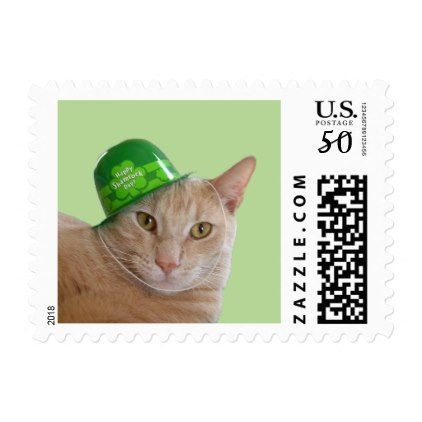 Cute Orange Cat Wearing a Green Irish Hat Postage - st patricks day gifts Saint Patrick's Day Saint Patrick Ireland irish holiday party